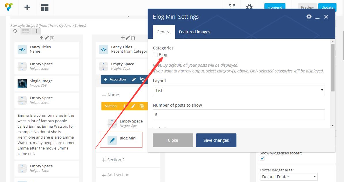 公告文章、最新分类文章和评论三个区域的设置 WordPress主题THE7.2设置BLOG首页的步骤