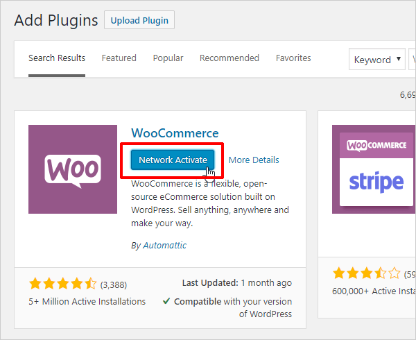Activate your eCommerce plugin network-wide