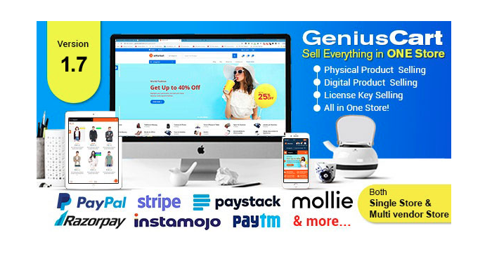 GeniusCart-Single-or-Multivendor-Ecommerce System with Physical-and-Digital-Product-Marketplace