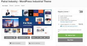 Patrai Industry WordPress Industrial Theme