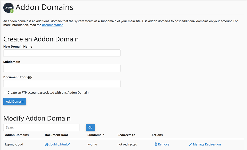 cPanel Add On Domain